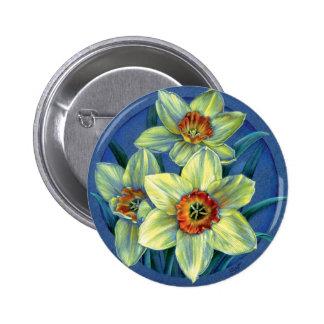 Botón/insignia de los narcisos pin redondo de 2 pulgadas