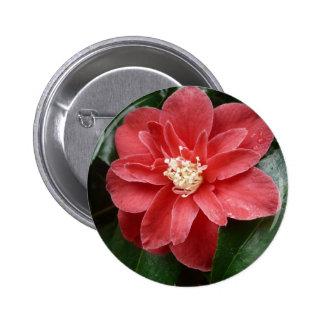 botón/insignia rojos de la flor pin redondo 5 cm