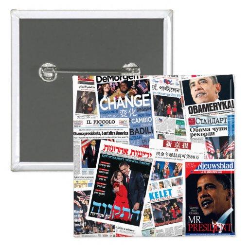 Botón internacional de los títulos de Obama Pin Cuadrado
