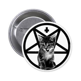 Botón invertido gatito enojado de la cruz y del Pe Pin Redondo De 2 Pulgadas