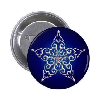 Botón iridiscente azul de la estrella pin redondo de 2 pulgadas