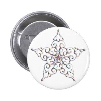 Botón iridiscente de la estrella pin redondo de 2 pulgadas