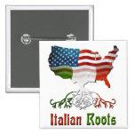 Botón italiano americano de las raíces pin cuadrado