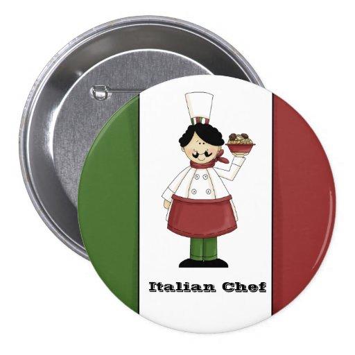 Botón italiano del cocinero #3 pin redondo de 3 pulgadas