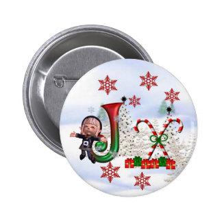 Botón J del navidad del monograma Pin