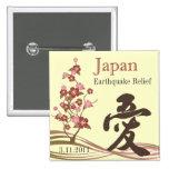 Botón japonés del amor del alivio del terremoto de pin
