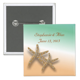 Botón Jeweled del boda de las estrellas de mar Pin