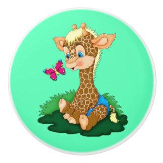 Botón/jirafa y mariposa de cerámica pomo de cerámica