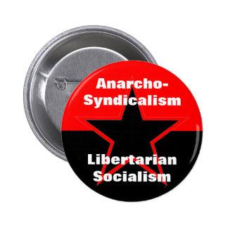 botón libertario del socialismo del anarcho-sindic pin redondo de 2 pulgadas