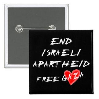 Botón libre de Gaza del corazón del apartheid isra Pin Cuadrado