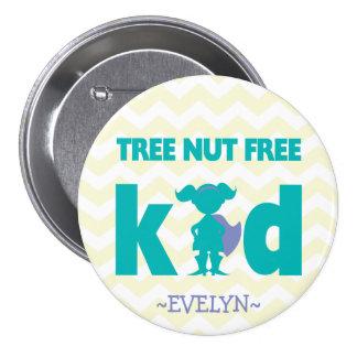 Botón libre del chica del super héroe de la nuez pin redondo de 3 pulgadas