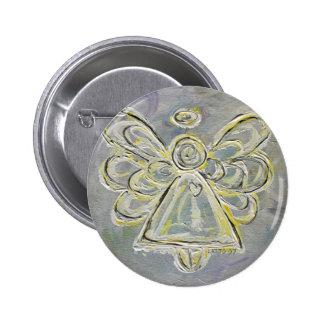 Botón ligero blanco y de plata del ángel o Pin