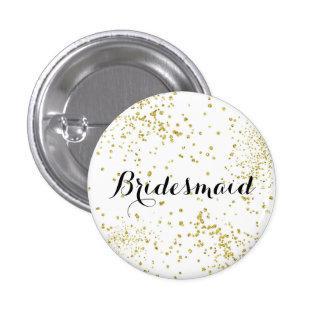Botón lindo de la dama de honor del brillo del oro pin redondo de 1 pulgada