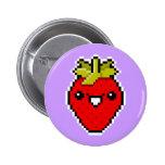 Botón lindo de la fresa del arte del pixel pins