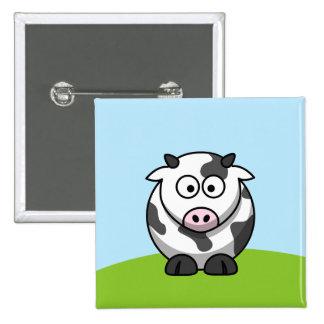 Botón lindo de la vaca pin cuadrado