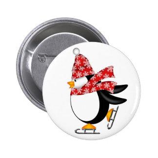 Botón lindo de los patines de hielo del pingüino pin redondo de 2 pulgadas