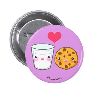 Botón lindo de Pinback de la leche y de la galleta Pin Redondo De 2 Pulgadas