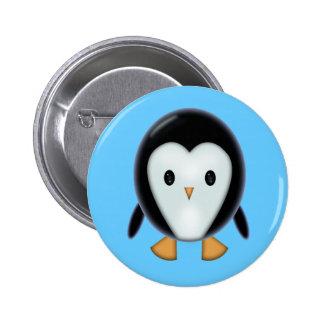 Botón lindo de Pinback del pingüino Pin Redondo De 2 Pulgadas