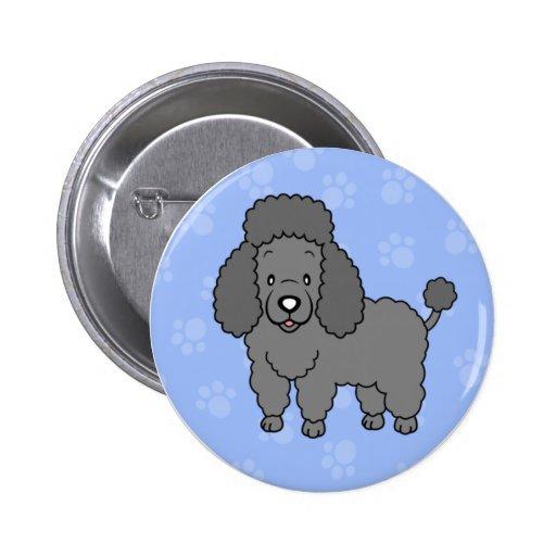 Botón lindo del caniche del perro del dibujo anima
