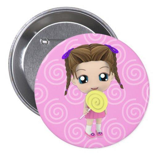 Botón lindo del chica de Chibi Pin Redondo De 3 Pulgadas