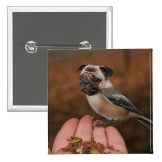 Botón lindo del cuadrado del pájaro del barro amas pin cuadrado
