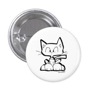 botón lindo del gato del dibujo animado de Chris Pin Redondo De 1 Pulgada
