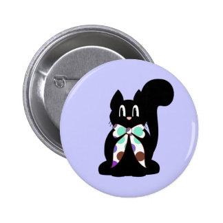 Botón lindo del gato del gatito del negro del luna pin