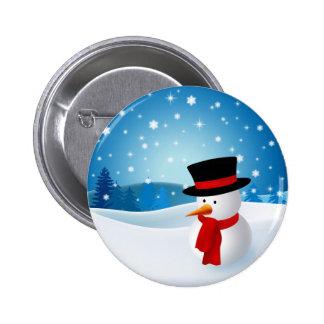 Botón lindo del muñeco de nieve pin redondo de 2 pulgadas