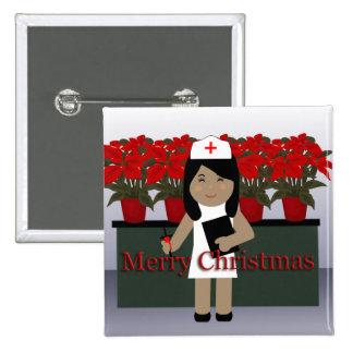 Botón lindo del navidad de la enfermera 1