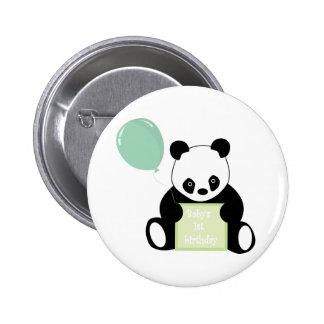 Botón lindo del oso de panda del 1r cumpleaños del