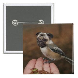 Botón lindo del pájaro del barro amasado pin cuadrado