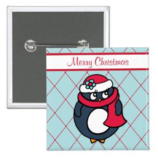 Botón lindo del pingüino del día de fiesta del nav pin cuadrado