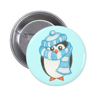Botón lindo del pingüino del día de fiesta del nav pin redondo de 2 pulgadas