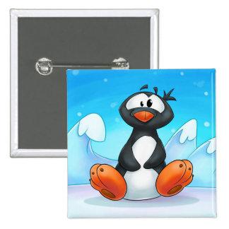 botón lindo del pingüino del dibujo animado pin cuadrado
