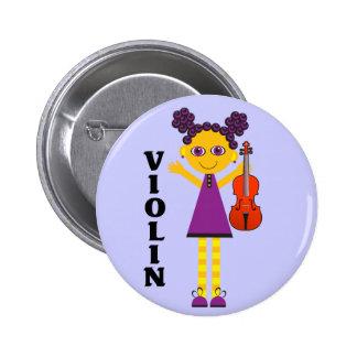 Botón lindo del violín de los niños pin redondo de 2 pulgadas
