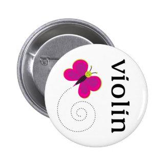 Botón lindo del violín del músico pin redondo de 2 pulgadas