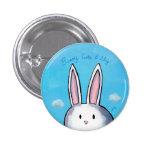 Botón lindo y tímido del conejito - azul pins