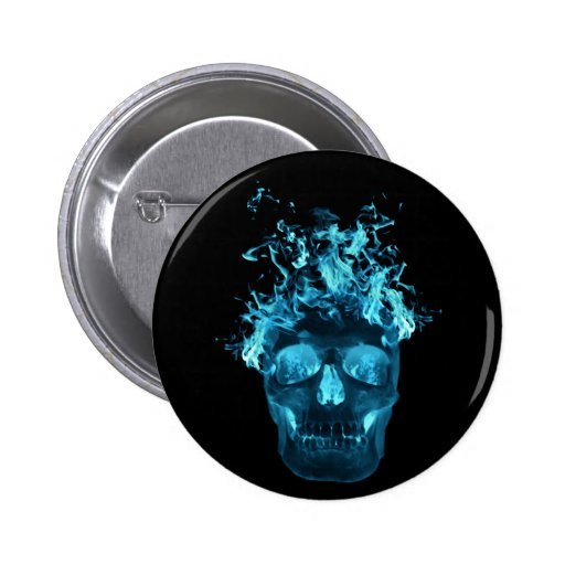 Botón llameante azul del cráneo pins
