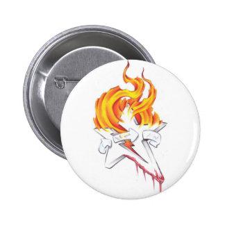 botón llameante de la estrella pin redondo de 2 pulgadas