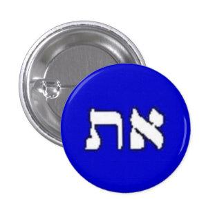 Botón llano de Aleph-Tav Pin Redondo De 1 Pulgada