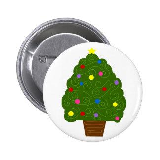 Botón lleno del árbol de navidad pin redondo de 2 pulgadas