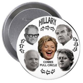Botón lleno del círculo 4-Inch de Hillary Pins