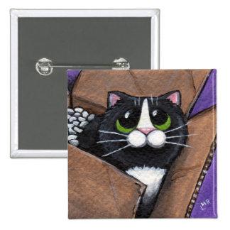 Botón lleno del gato de la caja O Pin Cuadrado