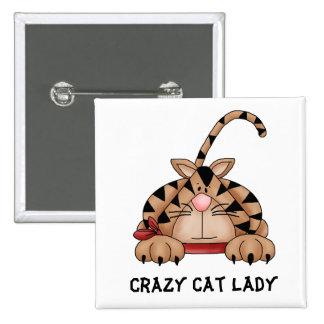 Botón loco de la señora del gato