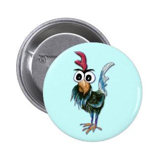 Botón loco del gallo pin redondo de 2 pulgadas