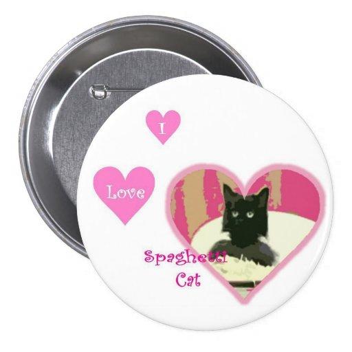 Botón LRG del gato de los espaguetis Pin Redondo De 3 Pulgadas