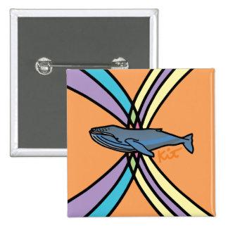 botón mágico de la ballena pin cuadrado
