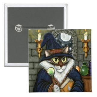 Botón mágico del hechicero del gato del mago del pin cuadrado