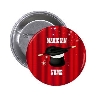 Botón mágico del nombre del fiesta del mago pin redondo de 2 pulgadas