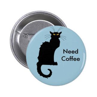 Botón malhumorado del café de la necesidad del